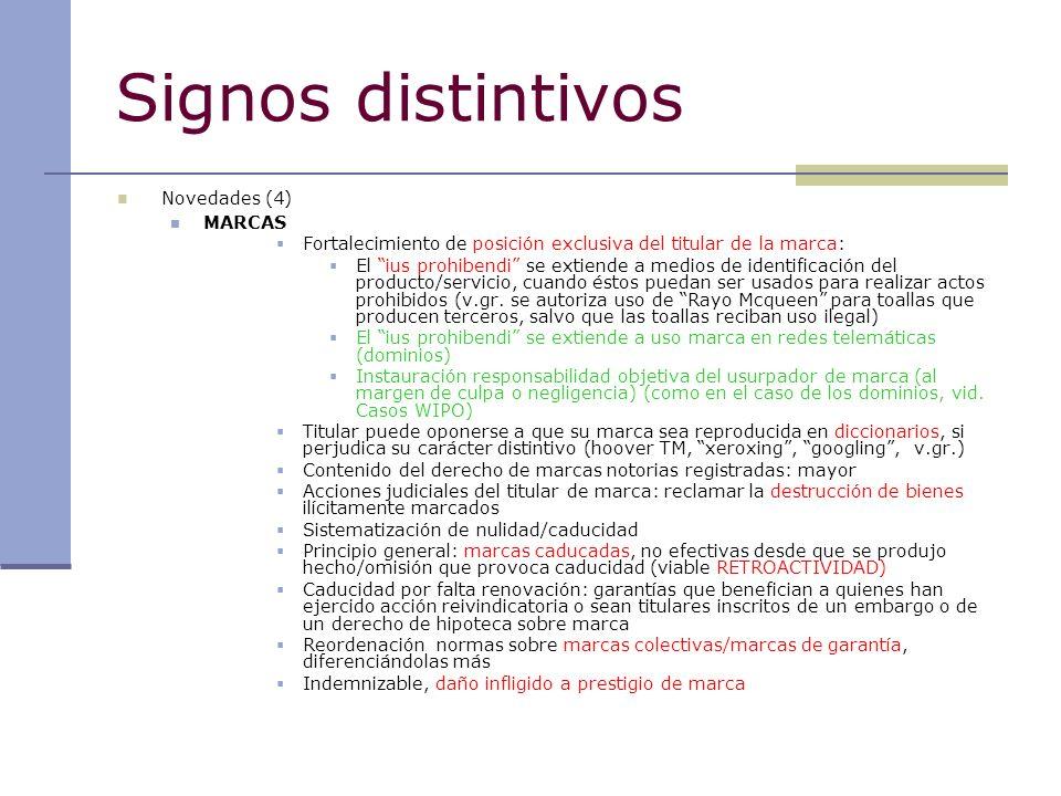 Signos distintivos Novedades (4) MARCAS Fortalecimiento de posición exclusiva del titular de la marca: El ius prohibendi se extiende a medios de ident
