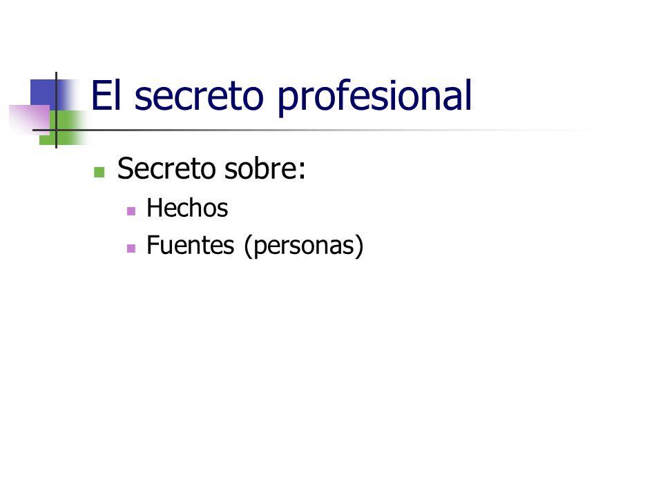 El secreto profesional Secreto sobre: Hechos Fuentes (personas)
