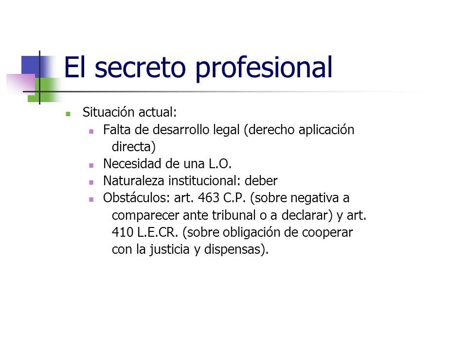 El secreto profesional Situación actual: Falta de desarrollo legal (derecho aplicación directa) Necesidad de una L.O.