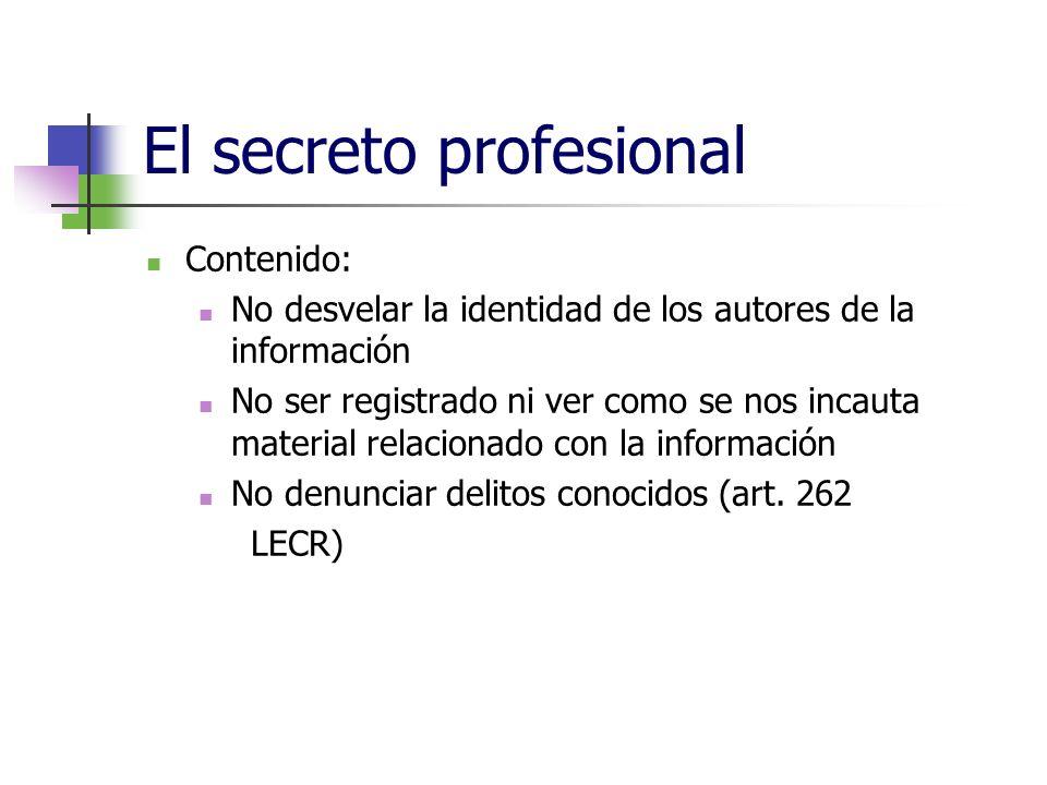 El secreto profesional Contenido: No desvelar la identidad de los autores de la información No ser registrado ni ver como se nos incauta material relacionado con la información No denunciar delitos conocidos (art.