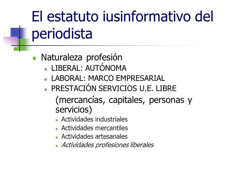 El estatuto iusinformativo del periodista Naturaleza profesión LIBERAL: AUTÓNOMA LABORAL: MARCO EMPRESARIAL PRESTACIÓN SERVICIOS U.E.