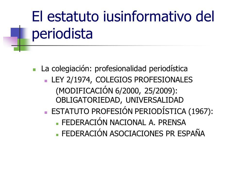 El estatuto iusinformativo del periodista La colegiación: profesionalidad periodística LEY 2/1974, COLEGIOS PROFESIONALES (MODIFICACIÓN 6/2000, 25/2009): OBLIGATORIEDAD, UNIVERSALIDAD ESTATUTO PROFESIÓN PERIODÍSTICA (1967): FEDERACIÓN NACIONAL A.