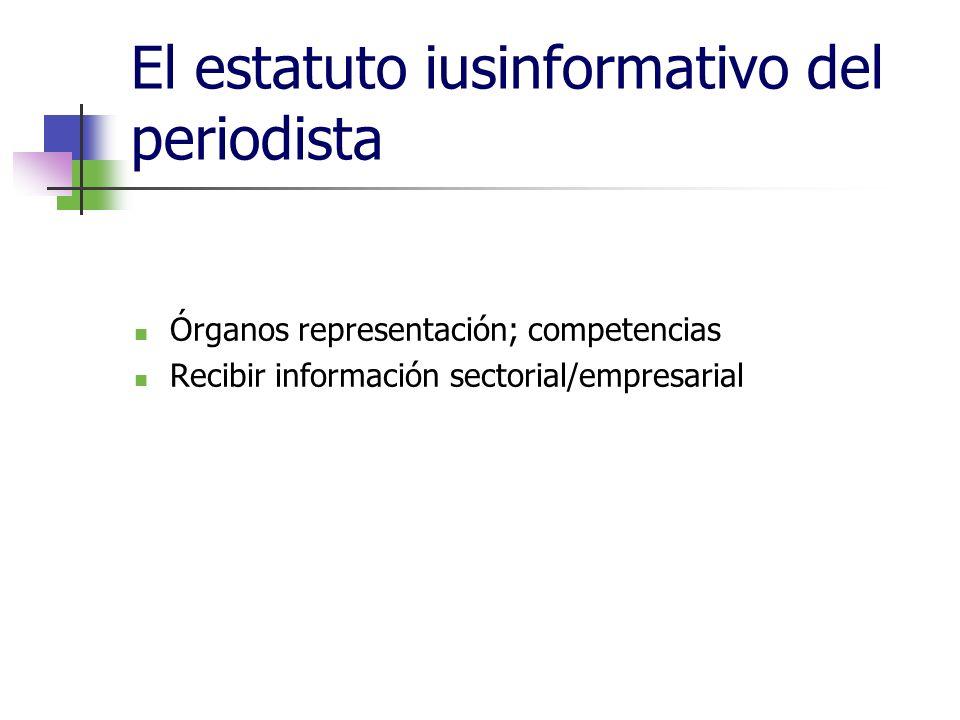El estatuto iusinformativo del periodista Órganos representación; competencias Recibir información sectorial/empresarial