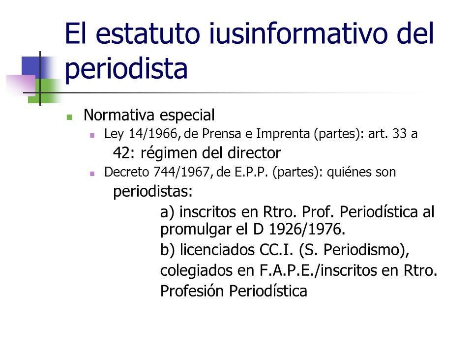 El estatuto iusinformativo del periodista Normativa especial Ley 14/1966, de Prensa e Imprenta (partes): art.