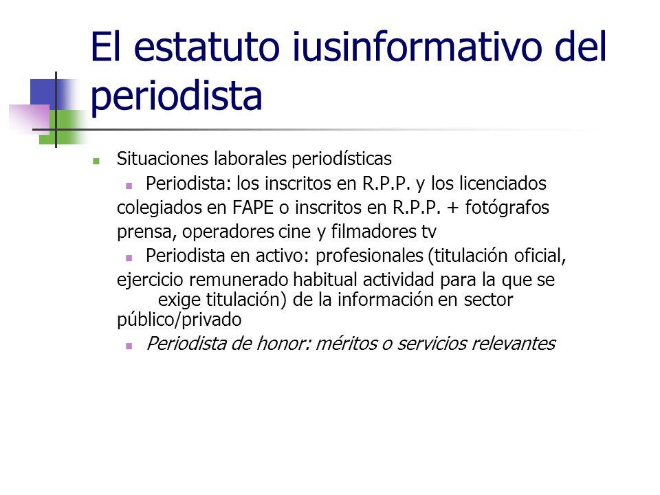 El estatuto iusinformativo del periodista Situaciones laborales periodísticas Periodista: los inscritos en R.P.P.