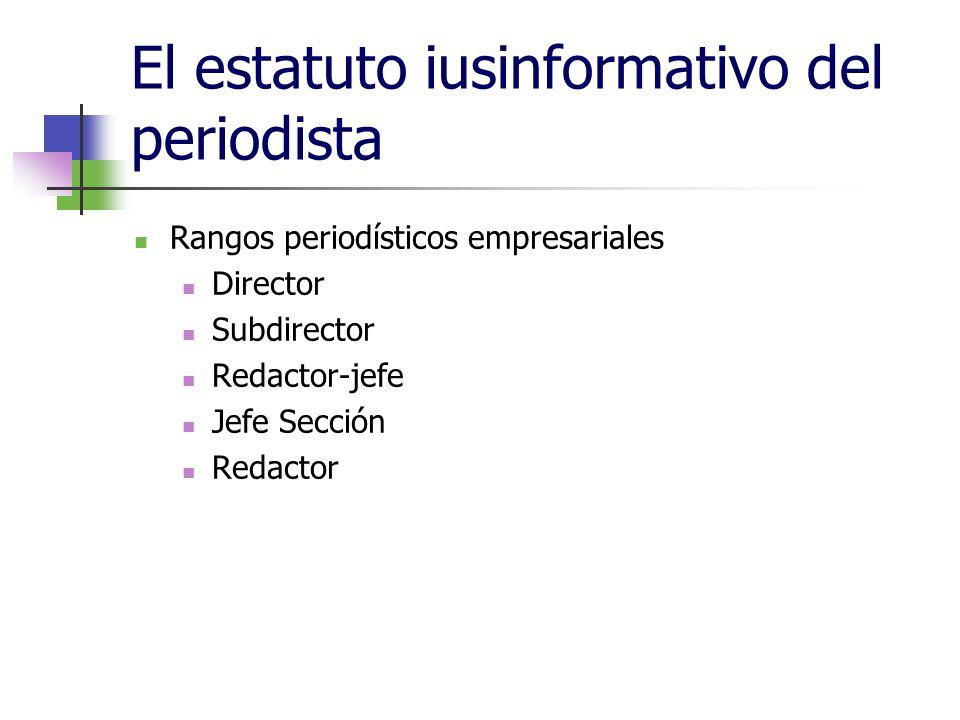 El estatuto iusinformativo del periodista Rangos periodísticos empresariales Director Subdirector Redactor-jefe Jefe Sección Redactor