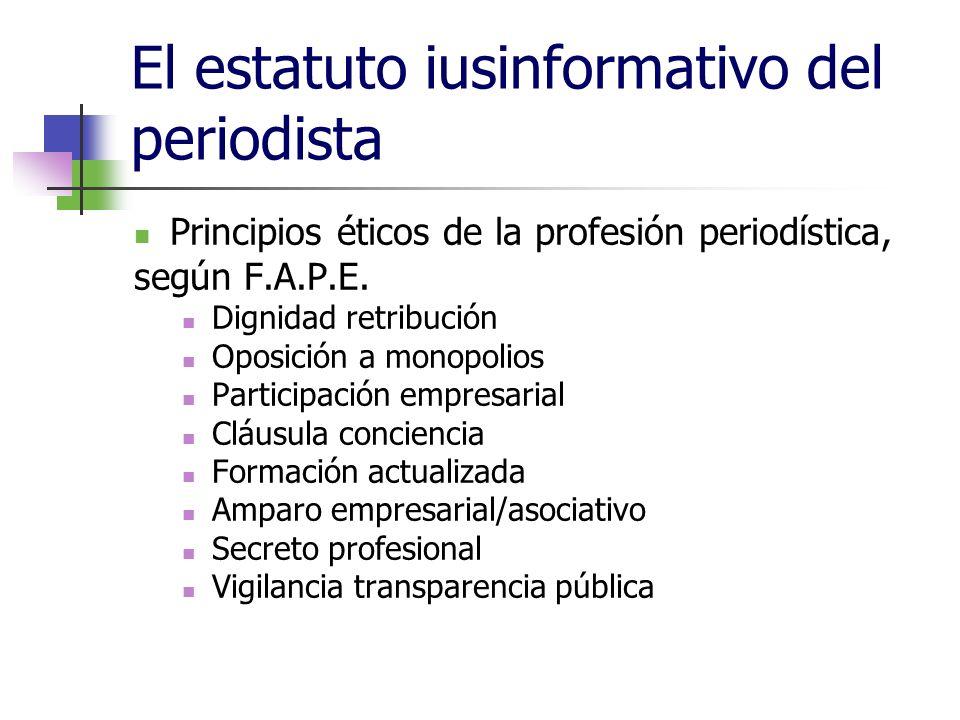 El estatuto iusinformativo del periodista Principios éticos de la profesión periodística, según F.A.P.E.