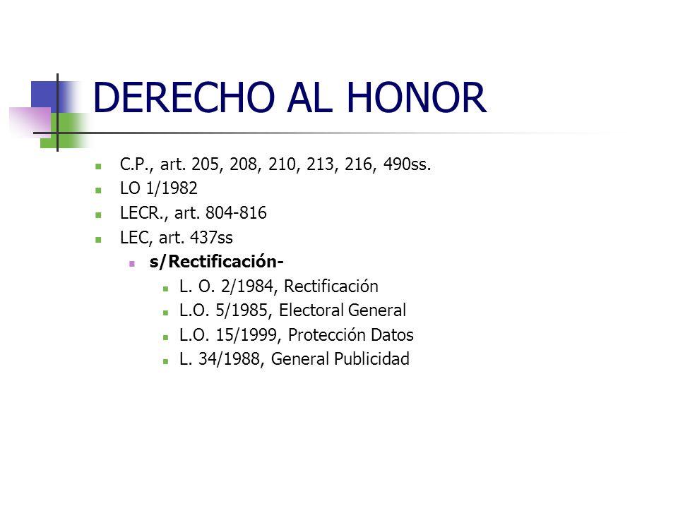 DERECHO AL HONOR C.P., art. 205, 208, 210, 213, 216, 490ss.