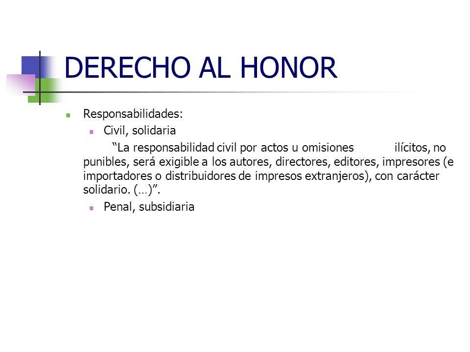 DERECHO AL HONOR RECTIFICACIÓN: Compatibilidad con otras acciones civiles, penales, administrativas Procedimiento: de juicios verbales, con modificaciones (art.