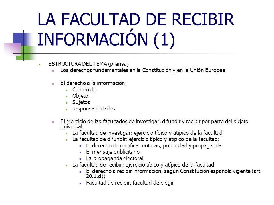 LA FACULTAD DE RECIBIR INFORMACIÓN (1) ESTRUCTURA DEL TEMA (prensa) Los derechos fundamentales en la Constitución y en la Unión Europea El derecho a l