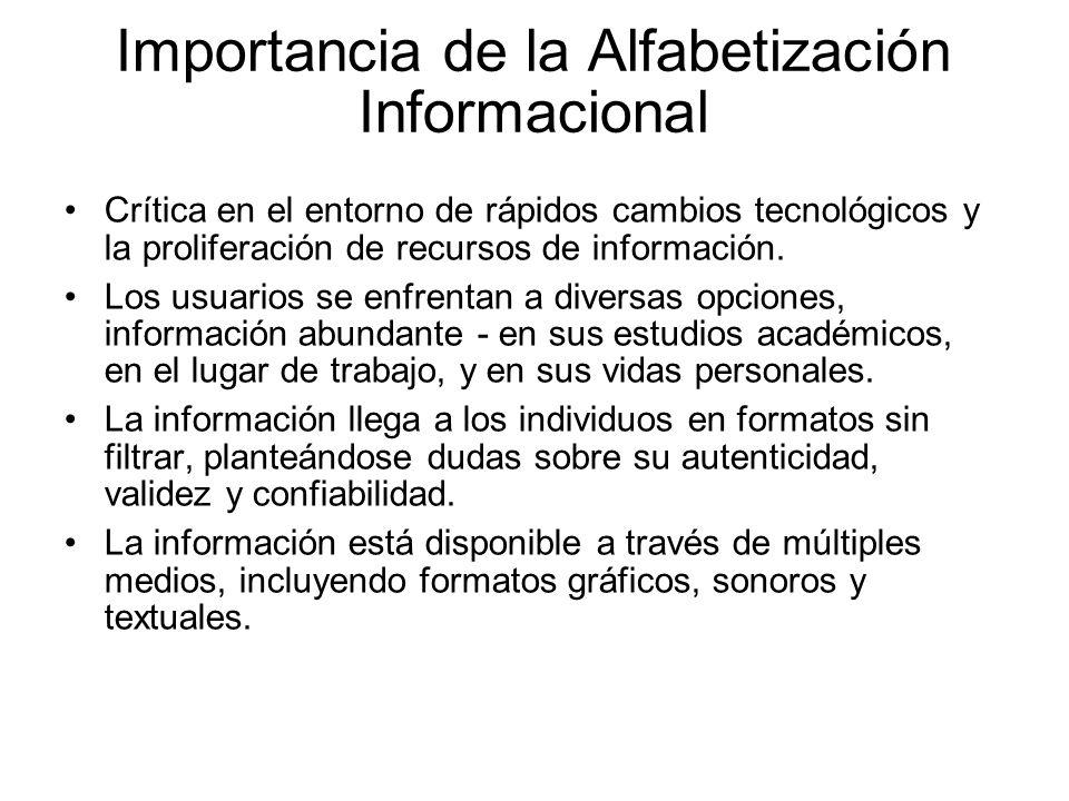 Importancia de la Alfabetización Informacional Crítica en el entorno de rápidos cambios tecnológicos y la proliferación de recursos de información. Lo
