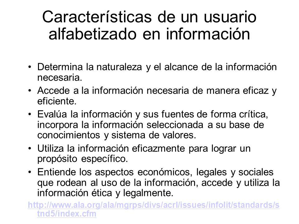 Características de un usuario alfabetizado en información Determina la naturaleza y el alcance de la información necesaria. Accede a la información ne
