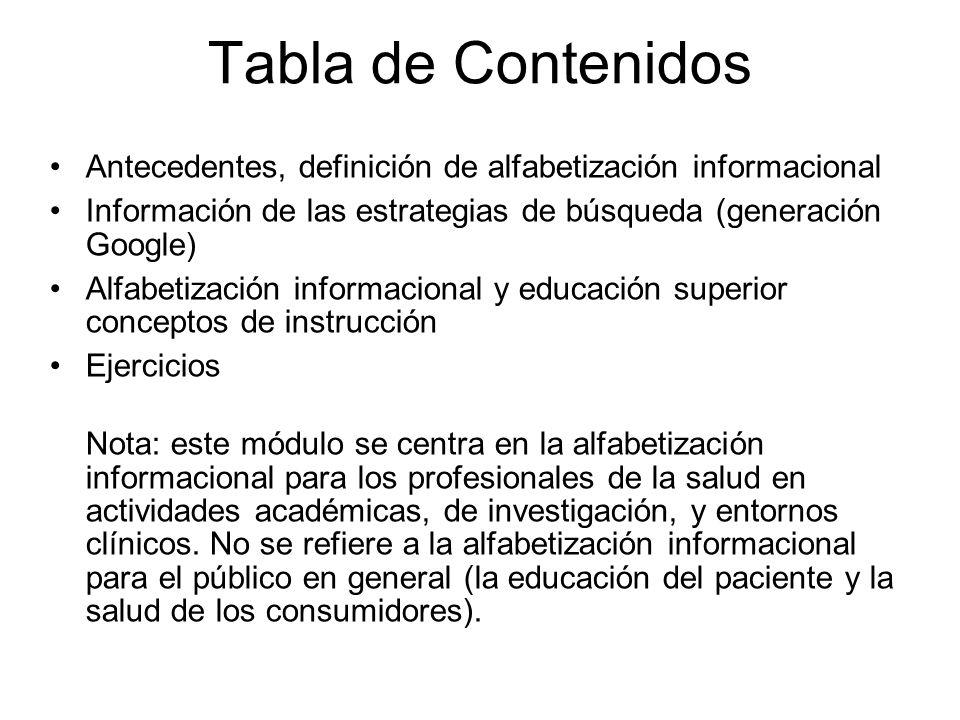 Tabla de Contenidos Antecedentes, definición de alfabetización informacional Información de las estrategias de búsqueda (generación Google) Alfabetiza