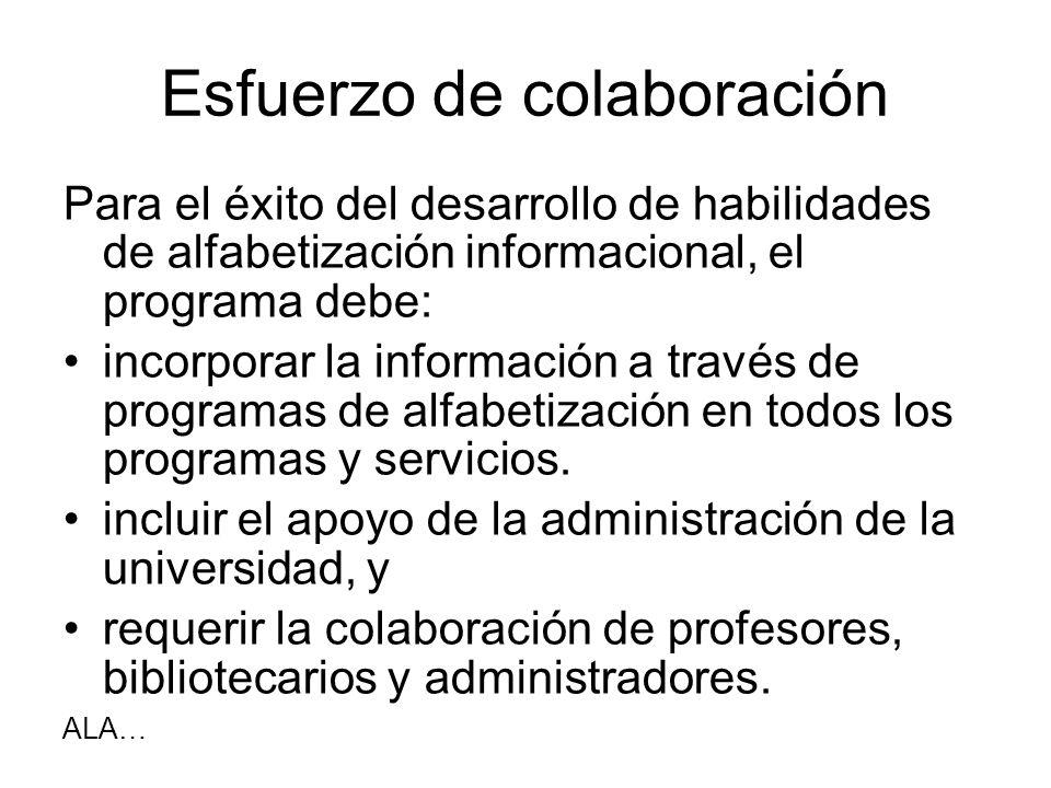 Esfuerzo de colaboración Para el éxito del desarrollo de habilidades de alfabetización informacional, el programa debe: incorporar la información a tr