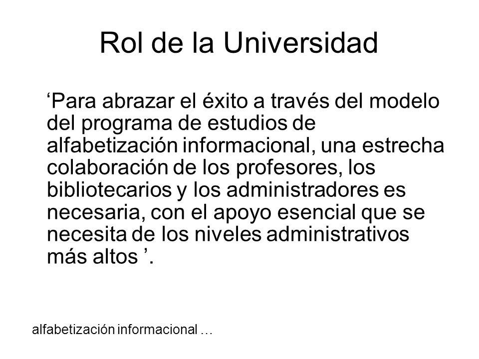 Rol de la Universidad Para abrazar el éxito a través del modelo del programa de estudios de alfabetización informacional, una estrecha colaboración de
