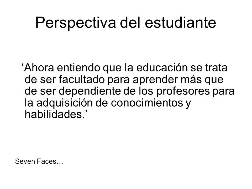 Perspectiva del estudiante Ahora entiendo que la educación se trata de ser facultado para aprender más que de ser dependiente de los profesores para l