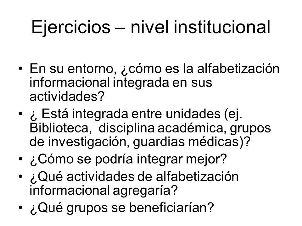 Ejercicios – nivel institucional En su entorno, ¿cómo es la alfabetización informacional integrada en sus actividades? ¿ Está integrada entre unidades