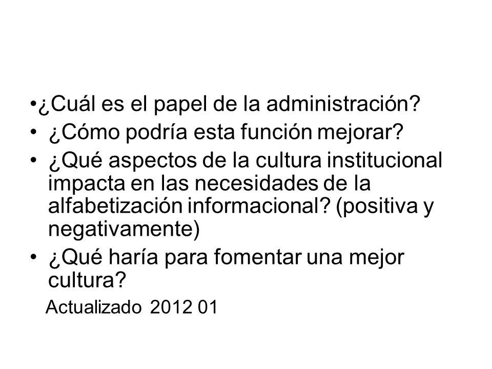 ¿Cuál es el papel de la administración? ¿Cómo podría esta función mejorar? ¿Qué aspectos de la cultura institucional impacta en las necesidades de la