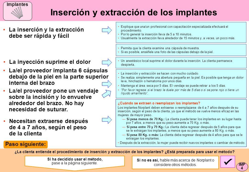 ¿La clienta entiende el procedimiento de inserción y extracción de los implantes? ¿Está preparada para usar el método? Inserción y extracción de los i