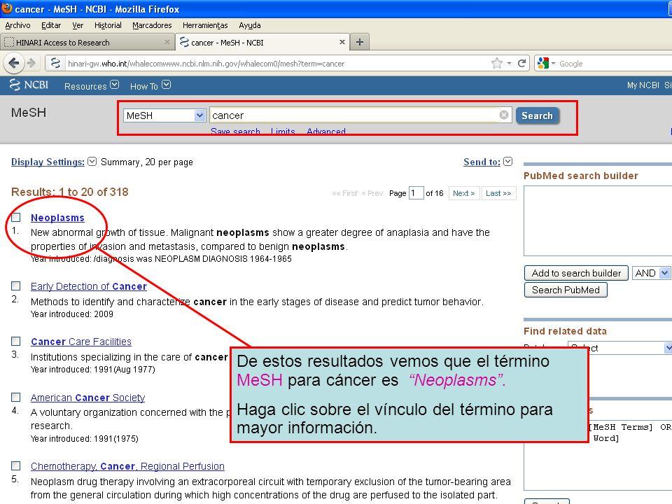 De estos resultados vemos que el término MeSH para cáncer es Neoplasms. Haga clic sobre el vínculo del término para mayor información.