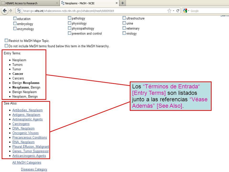 Los Términos de Entrada [Entry Terms] son listados junto a las referencias Véase Además [See Also].