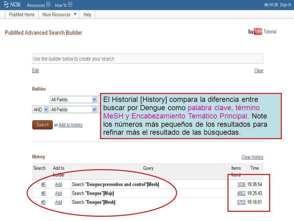El Historial [History] compara la diferencia entre buscar por Dengue como palabra clave, término MeSH y Encabezamiento Temático Principal. Note los nú