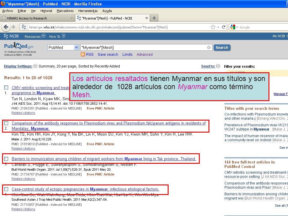 Los artículos resaltados tienen Myanmar en sus títulos y son alrededor de 1028 artículos con Myanmar como término Mesh.