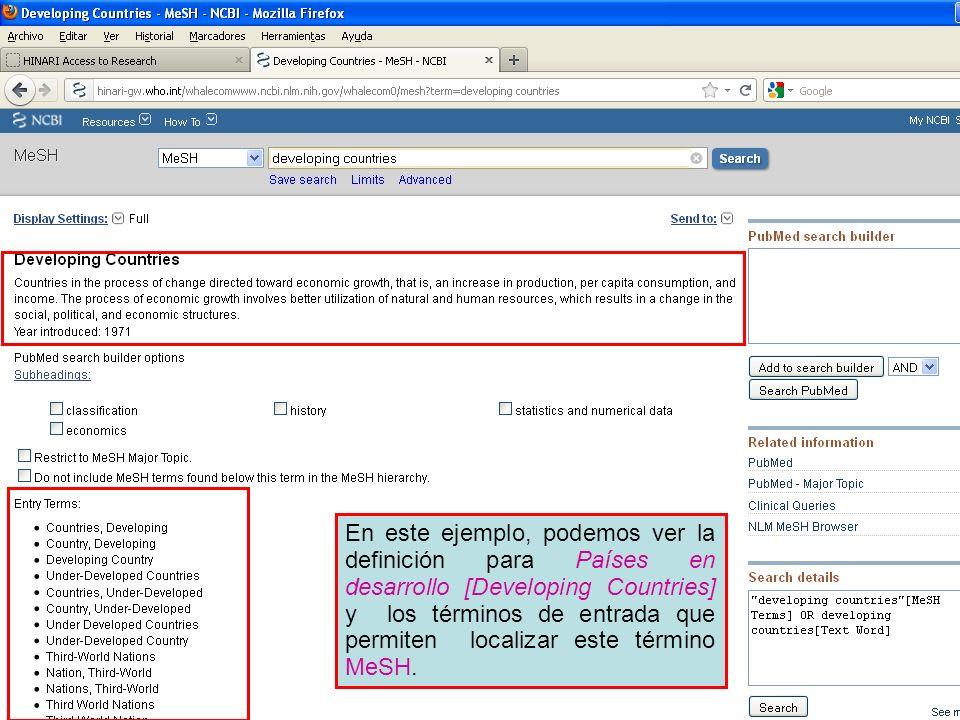 En este ejemplo, podemos ver la definición para Países en desarrollo [Developing Countries] y los términos de entrada que permiten localizar este térm