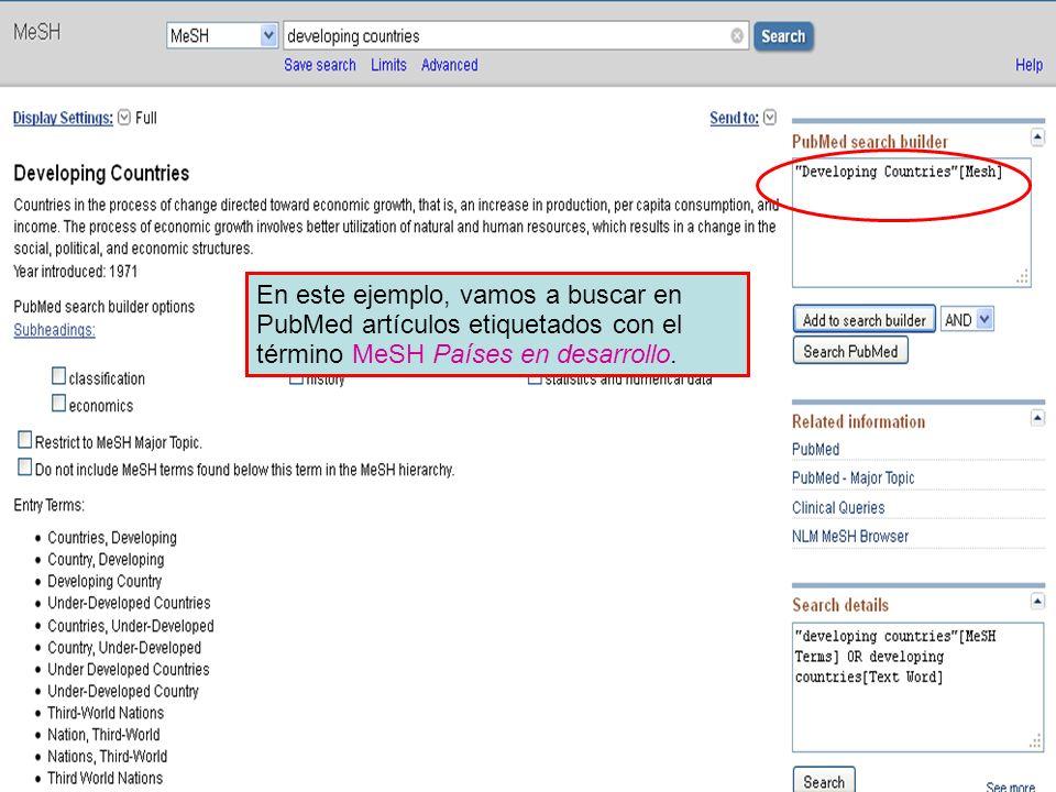 En este ejemplo, vamos a buscar en PubMed artículos etiquetados con el término MeSH Países en desarrollo.