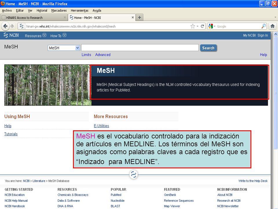 MeSH es el vocabulario controlado para la indización de artículos en MEDLINE. Los términos del MeSH son asignados como palabras claves a cada registro