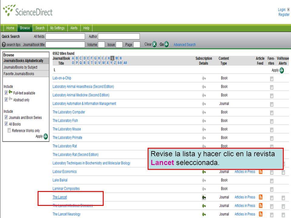 Science Direct 5 Revise la lista y hacer clic en la revista Lancet seleccionada.