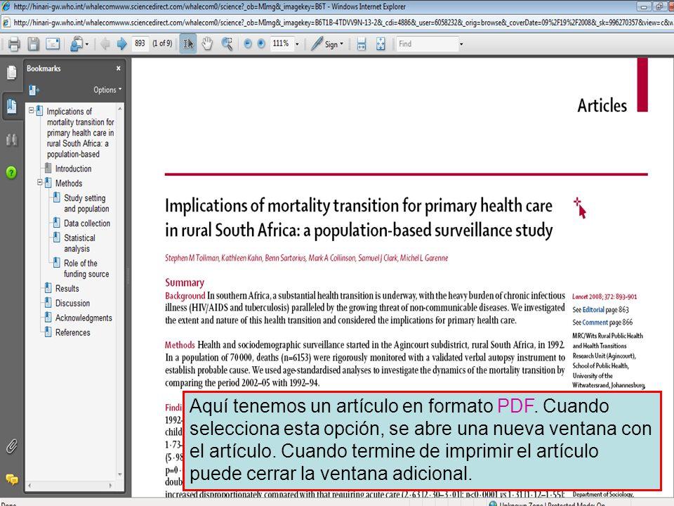 Science Direct 9 Aquí tenemos un artículo en formato PDF. Cuando selecciona esta opción, se abre una nueva ventana con el artículo. Cuando termine de