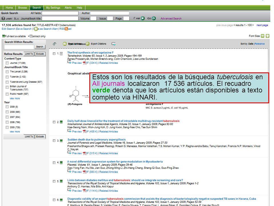 Science Direct 3 Estos son los resultados de la búsqueda tuberculosis en All journals localizaron 17 536 artículos. El recuadro verde denota que los a