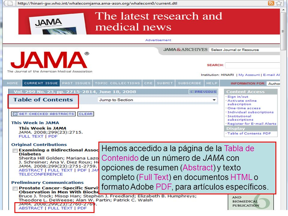 Hemos accedido a la página de la Tabla de Contenido de un número de JAMA con opciones de resumen (Abstract) y texto completo (Full Text) en documentos