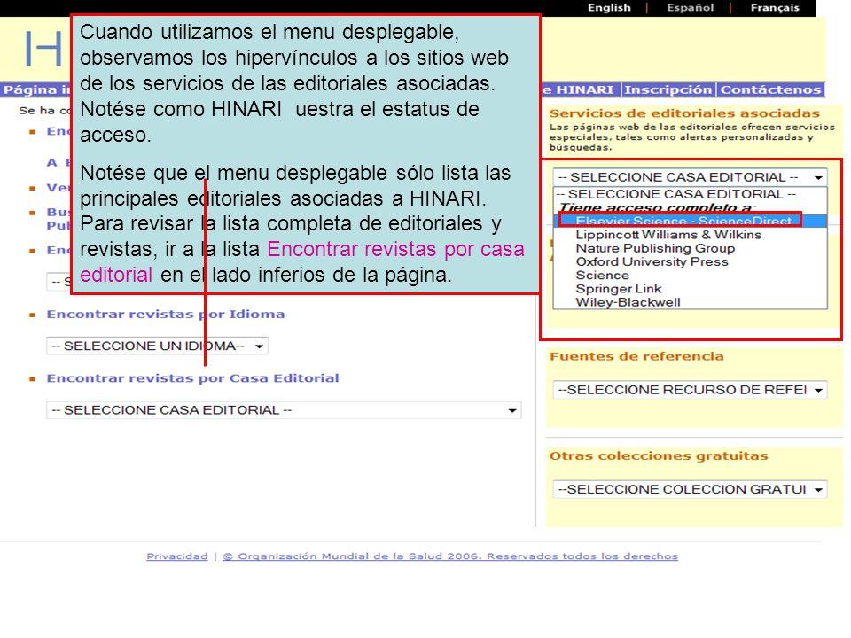 Esta es la vista de la opción texto completo Full Text (HTML) que incluye vínculos a otros recursos.