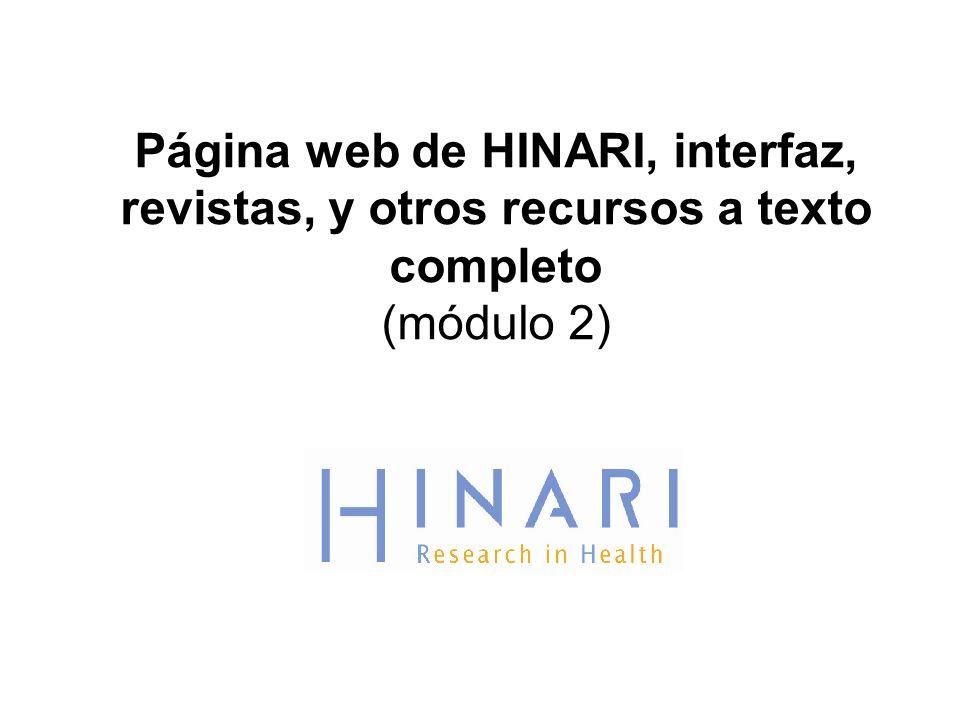 Página web de HINARI, interfaz, revistas, y otros recursos a texto completo (módulo 2)