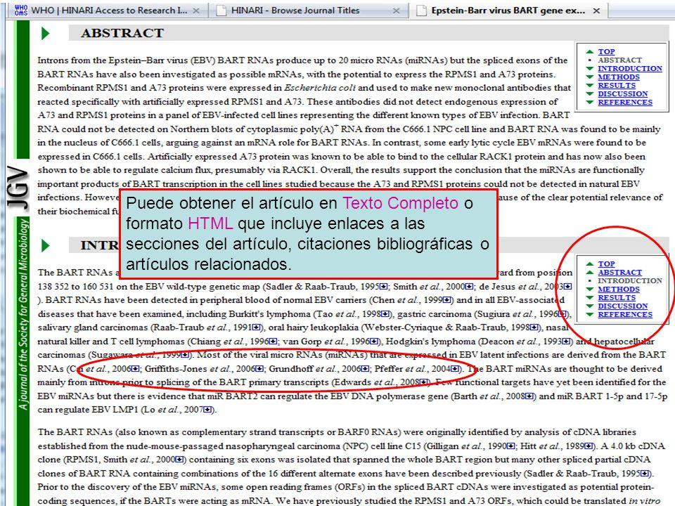 Puede obtener el artículo en Texto Completo o formato HTML que incluye enlaces a las secciones del artículo, citaciones bibliográficas o artículos rel