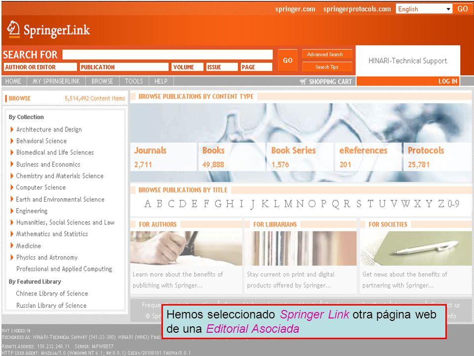 Partner publisher services 3 Hemos seleccionado Springer Link otra página web de una Editorial Asociada