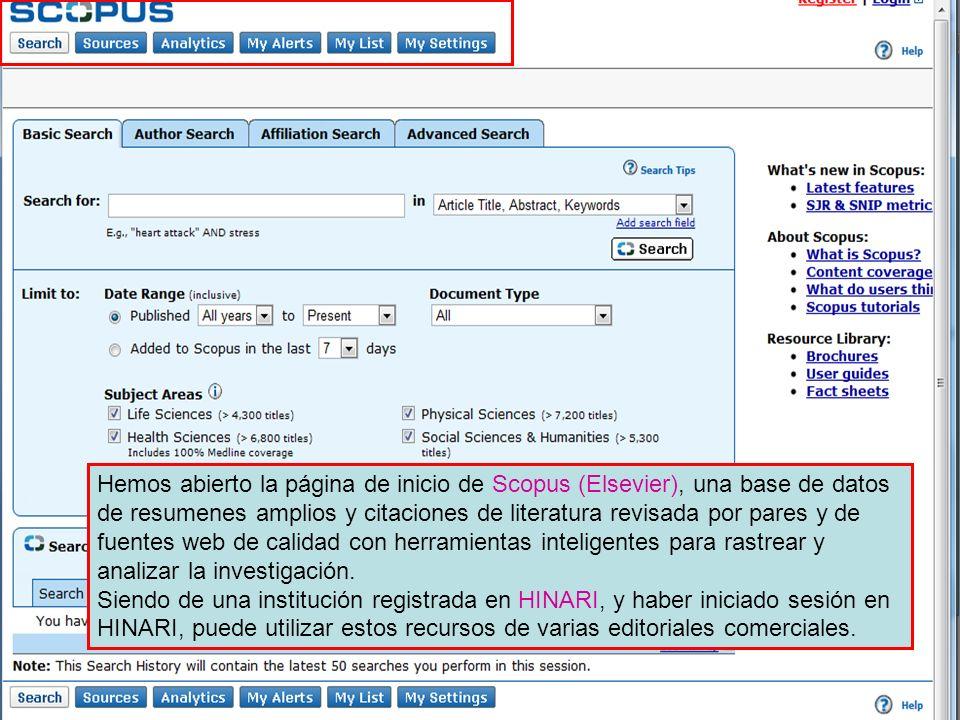 Hemos abierto la página de inicio de Scopus (Elsevier), una base de datos de resumenes amplios y citaciones de literatura revisada por pares y de fuen