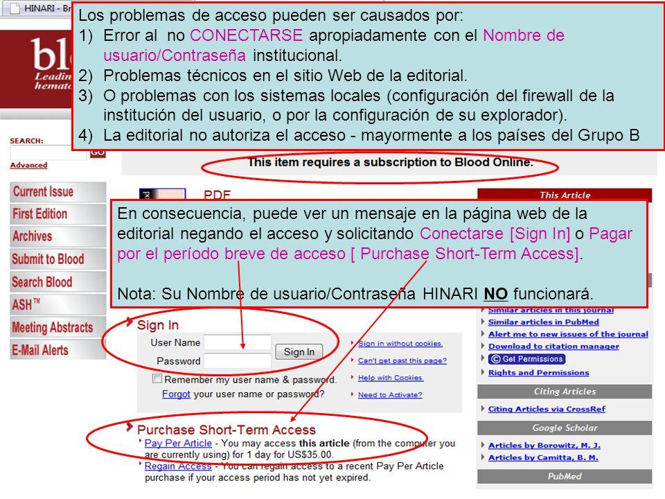 Los problemas de acceso pueden ser causados por: 1)Error al no CONECTARSE apropiadamente con el Nombre de usuario/Contraseña institucional. 2)Problema