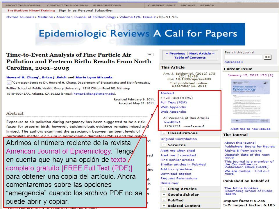 Abrimos el número reciente de la revista American Journal of Epidemiology. Tenga en cuenta que hay una opción de texto completo gratuito [FREE Full Te