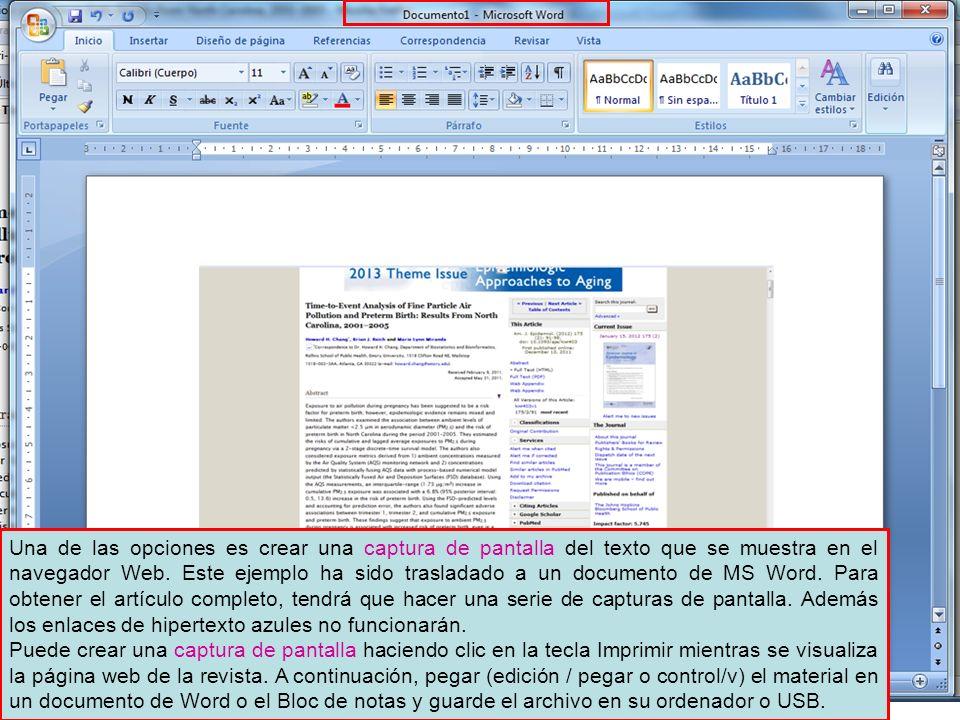 Una de las opciones es crear una captura de pantalla del texto que se muestra en el navegador Web. Este ejemplo ha sido trasladado a un documento de M