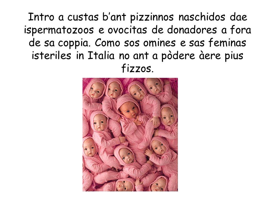 Intro a custas bant pizzinnos naschidos dae ispermatozoos e ovocitas de donadores a fora de sa coppia. Como sos omines e sas feminas isteriles in Ital