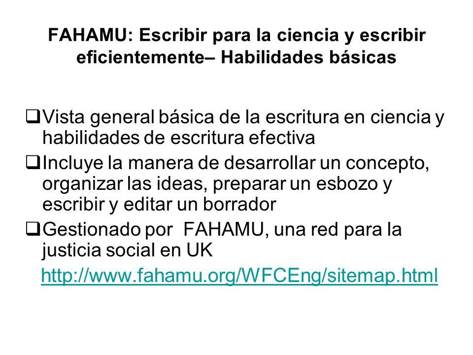 FAHAMU: Escribir para la ciencia y escribir eficientemente– Habilidades básicas Vista general básica de la escritura en ciencia y habilidades de escri