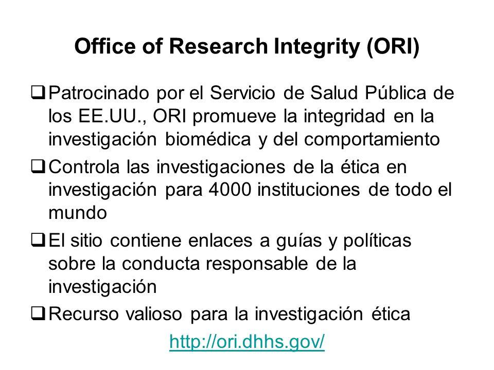 Office of Research Integrity (ORI) Patrocinado por el Servicio de Salud Pública de los EE.UU., ORI promueve la integridad en la investigación biomédic