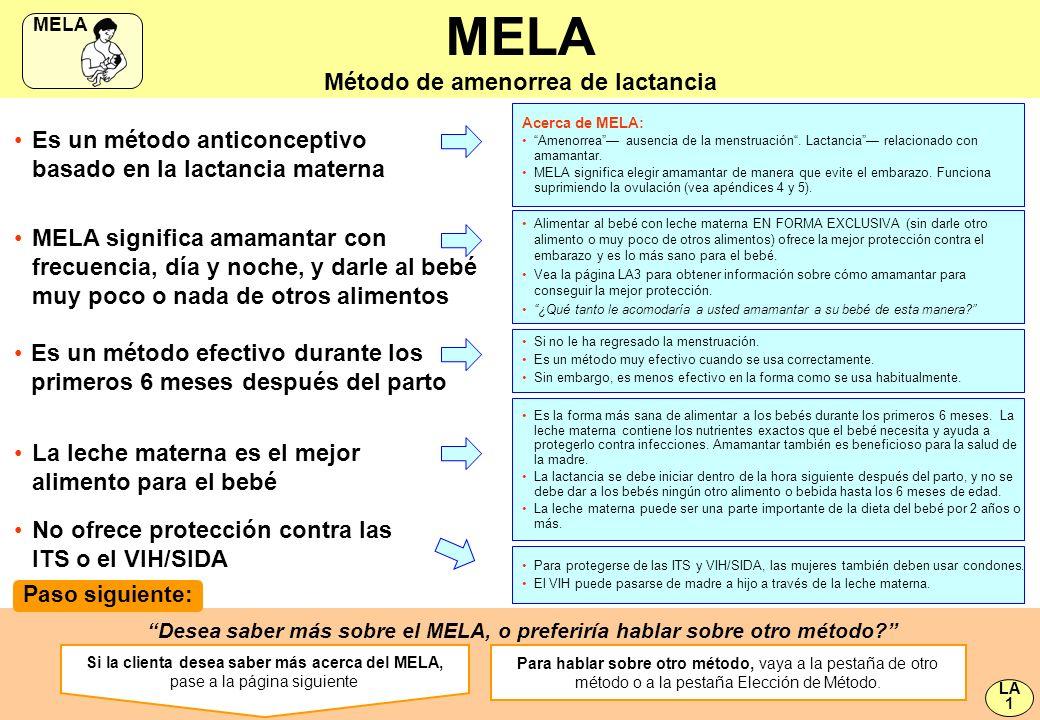 MELA significa amamantar con frecuencia, día y noche, y darle al bebé muy poco o nada de otros alimentos MELA Método de amenorrea de lactancia Es un m
