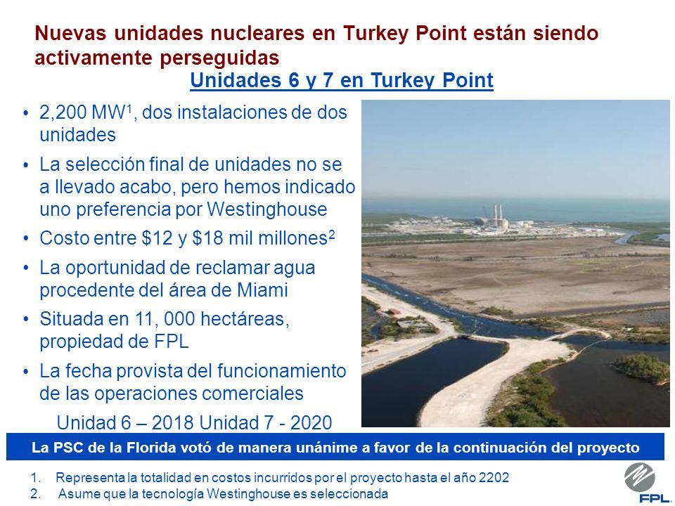 Nuevas unidades nucleares en Turkey Point están siendo activamente perseguidas 2,200 MW 1, dos instalaciones de dos unidades La selección final de unidades no se a llevado acabo, pero hemos indicado uno preferencia por Westinghouse Costo entre $12 y $18 mil millones 2 La oportunidad de reclamar agua procedente del área de Miami Situada en 11, 000 hectáreas, propiedad de FPL La fecha provista del funcionamiento de las operaciones comerciales Unidad 6 – 2018 Unidad 7 - 2020 Unidades 6 y 7 en Turkey Point 1.Representa la totalidad en costos incurridos por el proyecto hasta el año 2202 2.