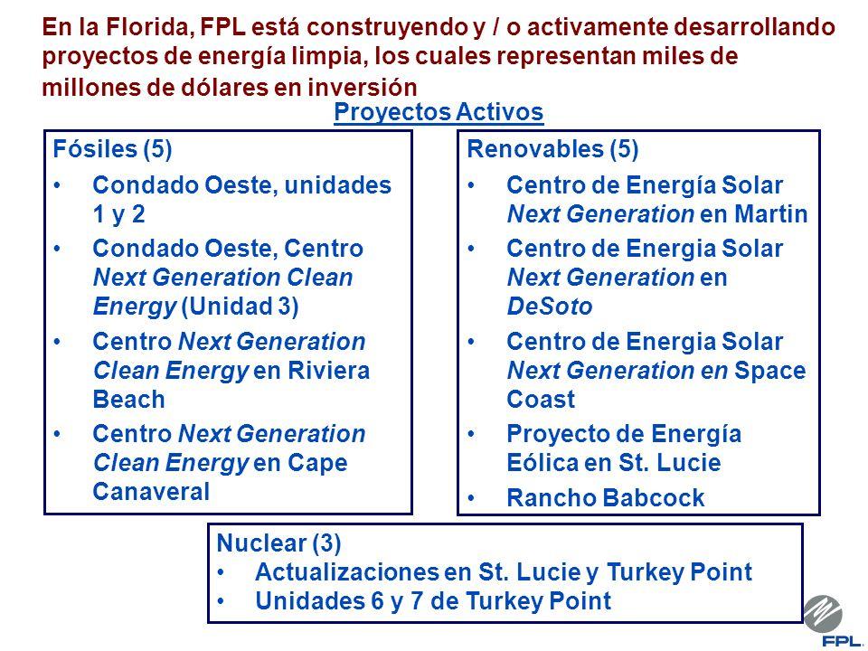 En la Florida, FPL está construyendo y / o activamente desarrollando proyectos de energía limpia, los cuales representan miles de millones de dólares