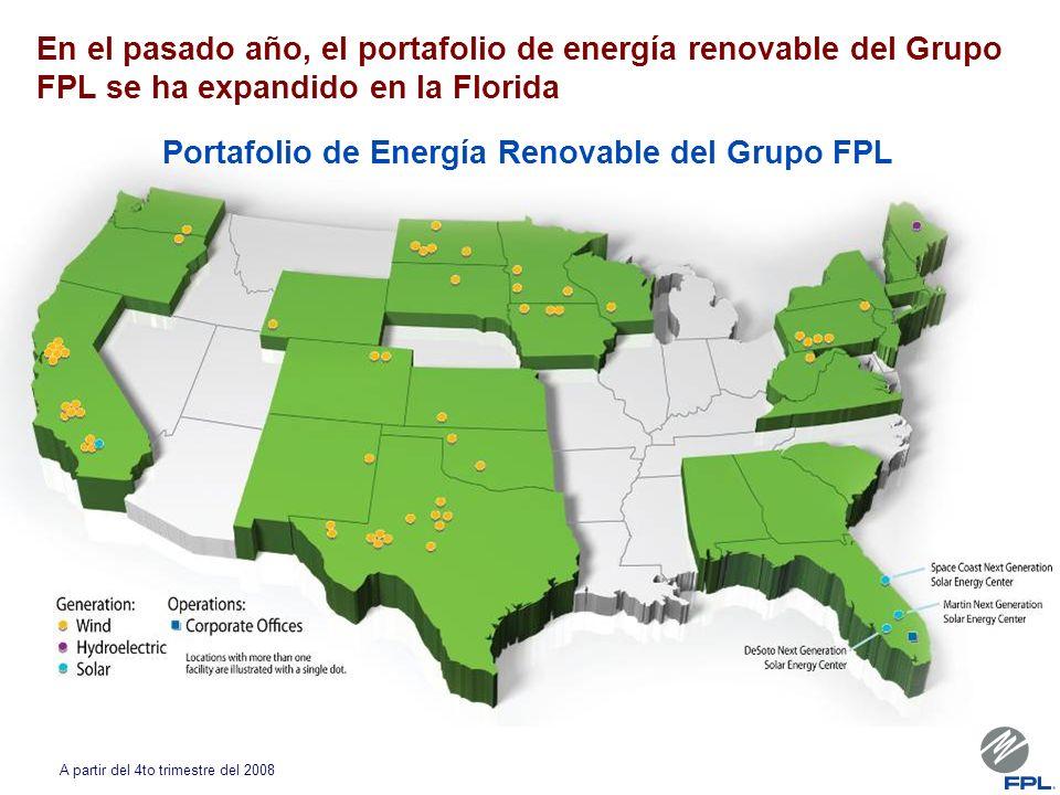 En el pasado año, el portafolio de energía renovable del Grupo FPL se ha expandido en la Florida Portafolio de Energía Renovable del Grupo FPL A partir del 4to trimestre del 2008