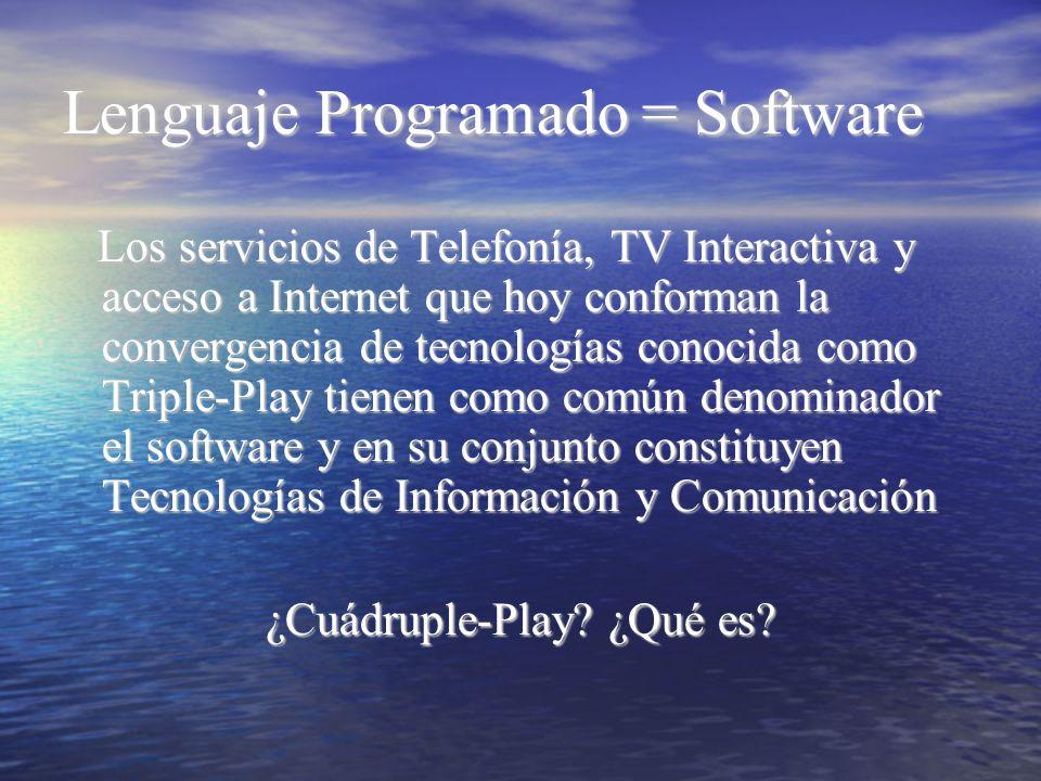 Lenguaje Programado = Software Los servicios de Telefonía, TV Interactiva y acceso a Internet que hoy conforman la convergencia de tecnologías conocid